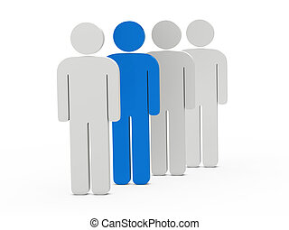 3d man leadership blue