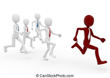 3d man leadership concept