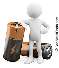 3D Man leaning on a battery