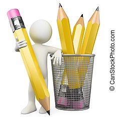 3D Man leaning on pencil holder. Rendered at high resolution...