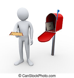 3d man letter delivery and open mailbox