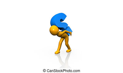 3D man lifting a question mark against a white background