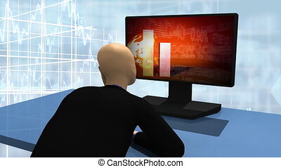3d-man lokking at share market - Animated graphics...
