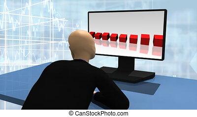 3d-man looking at a desktop - Animation showing 3d man...