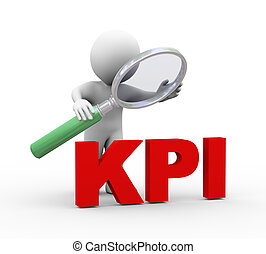 3d man looking at word kpi with magnifier