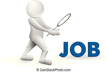 3D man looking for job symbol vector image