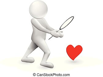 3D man looking for love heart vector