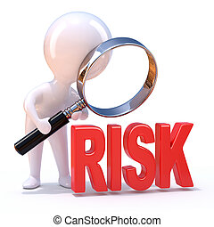 "3d Man looks at the word ""Risk"" through a magnifying glass -..."