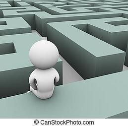 3d man finding path through maze