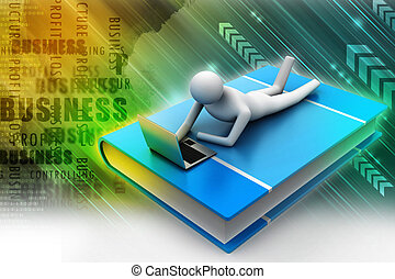3d man lying on book with laptop