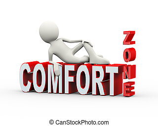 3d man lying on comfort zone text