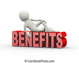 3d man lying on word benefits