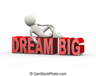 3d man lying on word dream big
