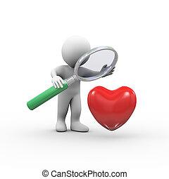 3d man magnifier looking at heart