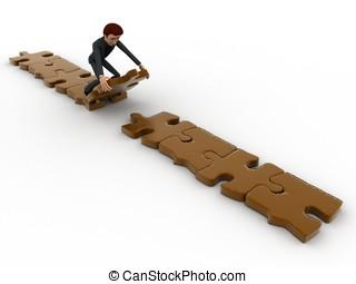 3d man making path of puzzle concept
