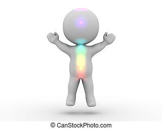 3D Man Meditation Levitation - A 3D man levitating, and with...