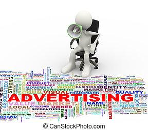 3d  man megaphone advertising wordcloud
