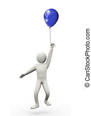 3d, man, met, balloon