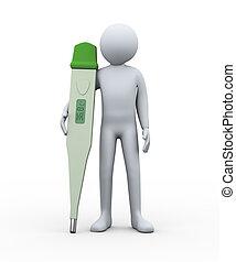 3d, man, met, digitale thermometer