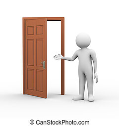 3d, man, met, open deur
