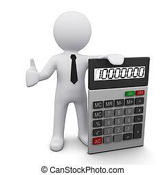 3d, man, met, rekenmachine