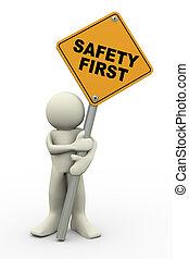 3d, man, met, veiligheid eerst, ondertekenen plank