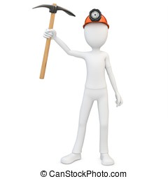 3d man miner with hardhat and pickaxe on white background