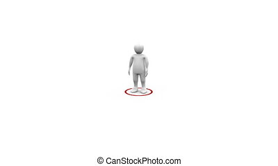 3d man networking against white background