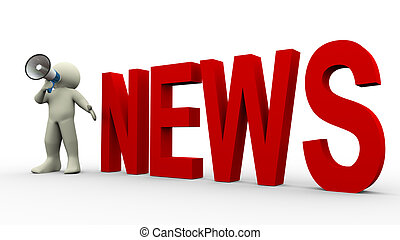 3d man news announcement - 3d render of man with megaphone...