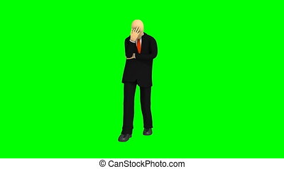 3d-man observing share market - Computer animation showing...