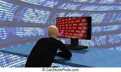 3d-man observing the share market - Computer animation...