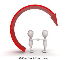3d man offer hand for handshake circular arrow concept