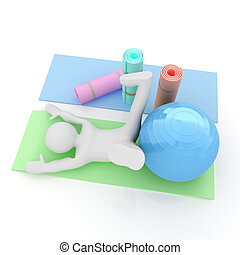 3d man on a karemat with fitness ball. 3D illustration