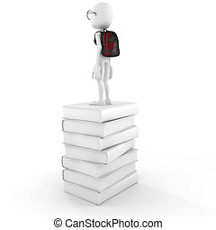 3d man on a pile of books
