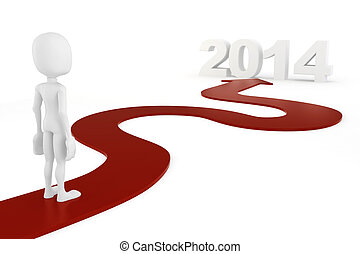 3d man on a red arrow to 2014 on white background
