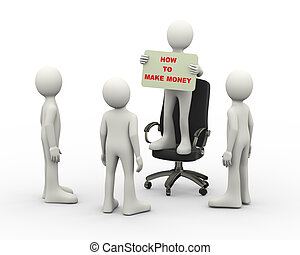 3d man on chair holding make money banner