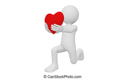 3d man on his knee send his heart as love isolated with white background