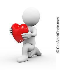 3d man on knee presenting heart