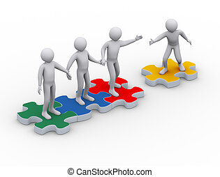 3d man on puzzle joining team work - 3d illustration of man...