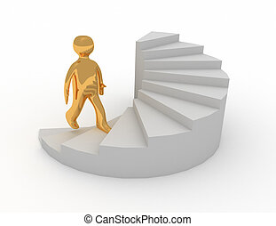 3d man on stairs success