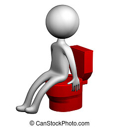3d Man on the toilet seat. 3D rendering.