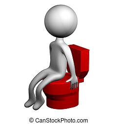 3d Man on the toilet seat