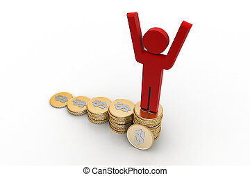 3d man on the top of money graph