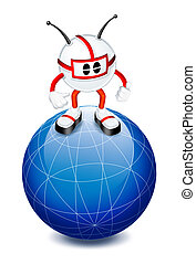 3d man on top of globe