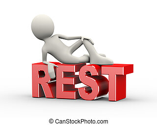 3d illustration of man stylish lying on word text rest. 3d human person character and white people