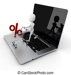 3d man online shopping, e-commerce concept