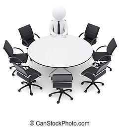 3d, man, op, de, ronde, tafel., zeven, lege stoelen