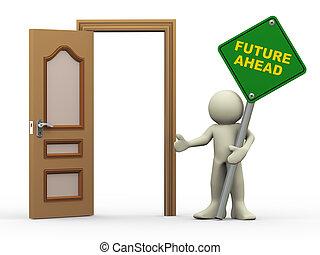 3d, man, open deur, en, toekomst, vooruit, meldingsbord