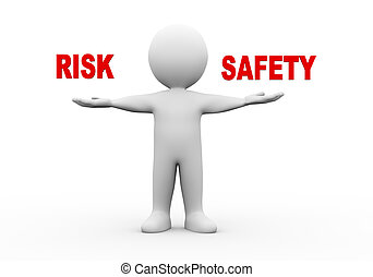 3d man open hands risk safety - 3d illustration of open hand...