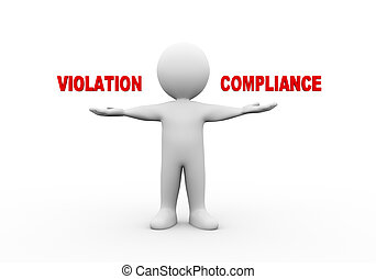 3d man open hands violation compliance. - 3d illustration of...